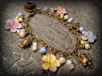 Floral Charm Bracelt, Alice's Tea Party